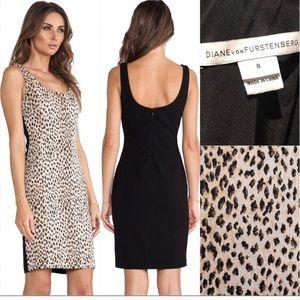 DVF Leopard Print Arianna Sheath Dress, size 8